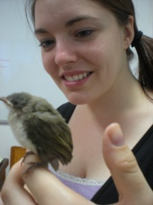 Me and Wu Fei, the little birdy who couldn't fly.