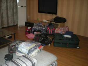 What my apartment looked like after dropping off all my luggage. Thanks Peace Corps for all the extra bags to carry!